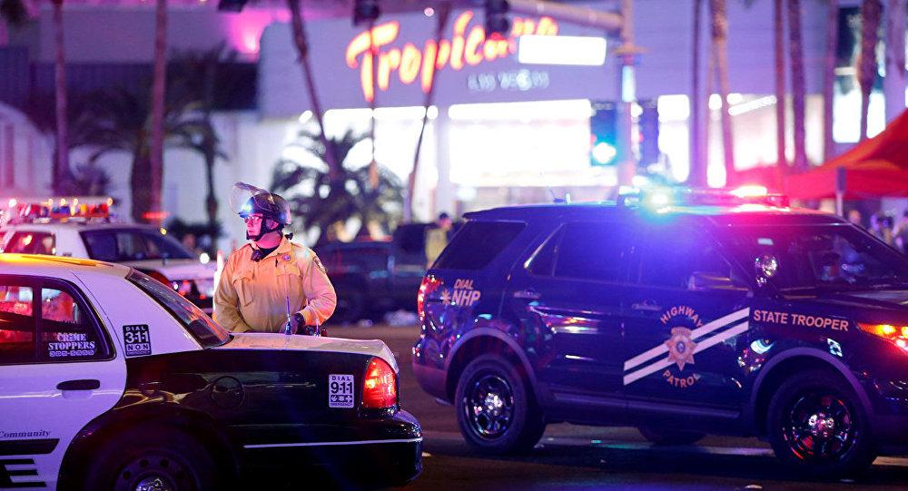 Полиция и скорая на месте происшествия в Лас-Вегасе