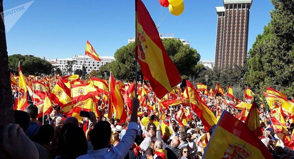 Митинг в защиту нации и Конституции, Мадрид, площадь Колумба, 7 октября 2017 г.